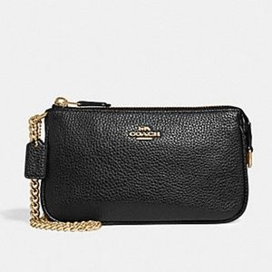 Coach wristlet 19 (F30258) Pebbled Leather BLACK